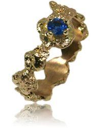 Karolina Bik Jewellery Out Of The Sea Ring In 14k Gold & Saphire - Metallic