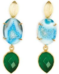 Magpie Rose Blue Agate & Green Onyx Cocktail Earrings