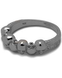 Northskull Septem Skull Band Ring In Gunmetal - Black
