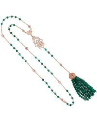 LÁTELITA London - Tassel & Hamsa Necklace Green Onyx - Lyst