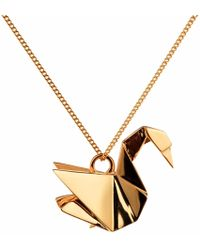 Origami Jewellery Swan Necklace Gold - Metallic