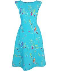 Haris Cotton Charikleia Flared Midi Dress Turquoise - Multicolour