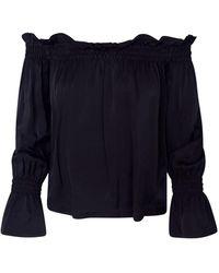 Haris Cotton Off-the-shoulder Ruffled Viscose Blouse - Black