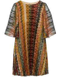 Nissa Golden Thread Pleated Dress - Metallic