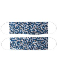 Rumour London Pack Of 2 Silk Face Masks With Integrated Filter In Liberty Fabric In Small Floral Print - Blue