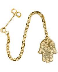 CarterGore - Gold Hamsa Hand Single Long Drop Earring - Lyst