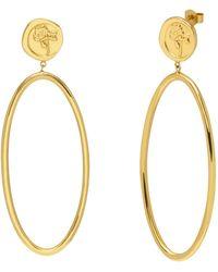 Northskull Rose Seal Statement Hoop Earrings In Gold - Metallic