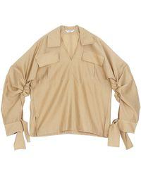 Emin & Paul Khaki Ruched Sleeve Blouse - Natural