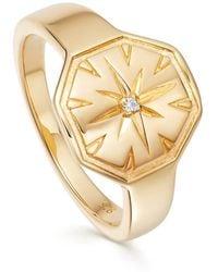 Astley Clarke Celestial Dial Signet Ring - Metallic