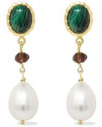 Vintouch Italy Malachite, Garnet & Pearl Drop Earrings - Green