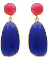Carousel Jewels - Symmetrical Double Drop Fuchsia Chalcedony & Blue Quartz Earrings - Lyst