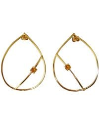 Elena Jewelry Concepts Gold Teardrop Earrings With Yellow Citrine - Multicolour