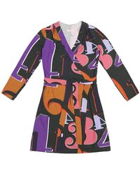 TOMCSANYI Terez Grid Numbers Print Wrap Dress - Multicolour