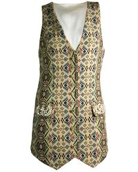 relax baby be cool Womens Long Smoking Vest With Pearl Embroidery - White