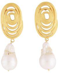 Carousel Jewels Statement Gold Swirl & Baroque Pearl Earrings - Metallic