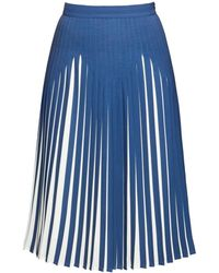 Rumour London Penelope Azure Blue Pleated Two-tone Midi Skirt