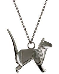 Origami Jewellery Cat Necklace Gun Metal - Black