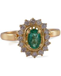 Emma Chapman Jewels Emerald Diamond 18ct Gold Love Ring - Green