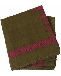 40 Colori Military Green Aztec Printed Wool Bandana