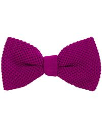 40 Colori Plum Solid Silk Knitted Bow Tie - Purple