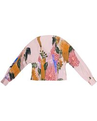 TOMCSANYI Piroska Blurred Flower Print Open Back Tie Blouse - Multicolor