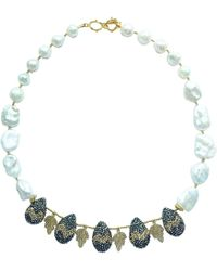 Farra - Teardrop Rhinestones With Lace Leaves Freshwater Pearls Necklace Short Necklace - Lyst