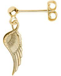 CarterGore Gold Wing Single Short Drop Earring - Metallic