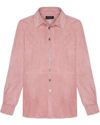 VEIL LONDON - Baby Pink Suede Shirt - Lyst