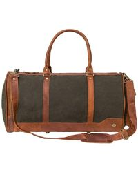 MAHI - Canvas & Leather Columbus Holdall In Forest Green - Lyst