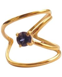 Elena Jewelry Concepts - Gold Plated Silver Rhombus Ring With Blue Iolite - Lyst