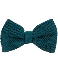 40 Colori - Petrol Blue Solid Silk Knitted Bow Tie - Lyst