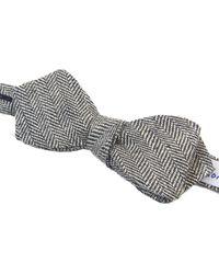 40 Colori - Black & Silver Herringbone Linen Spencer Bow Tie - Lyst