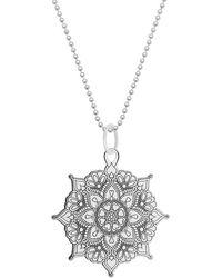 CarterGore Large Silver Classic Mandala Pendant Necklace - Metallic
