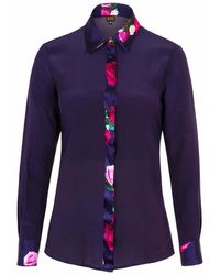 Sophie Cameron Davies Midnight Blue Rose Silk Shirt