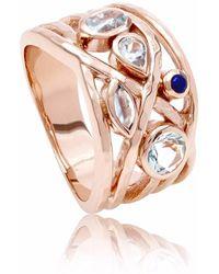 Neola Rose Gold Cocktail Ring With Aquamarine, Blue Topaz & Lapis Lazuli Liana - Multicolor