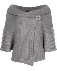 NY CHARISMA Grey Ribbed Cardigan With Fringe Layers Sleeves - Gray