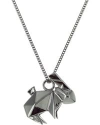Origami Jewellery - Mini Rabbit Necklace Gun Metal - Lyst