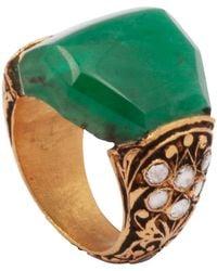 Kastur Jewels 15th Century Technique Emerald & Rose Cut Diamond Ring - Metallic
