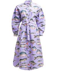 TOMCSANYI Tok Oversized Shirt Dress Big Fish - Purple