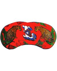 Jessica Russell Flint L For Leopards Silk Eye Mask In Gift Box - Red