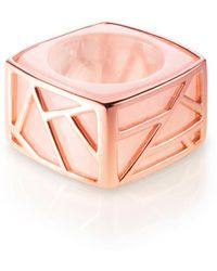 Ona Chan Jewelry - Square Cocktail Ring Rose Quartz - Lyst