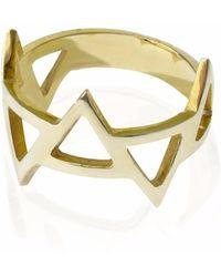Sally Lane Jewellery - Ladder Of Life Gold Geometric Ring - Lyst