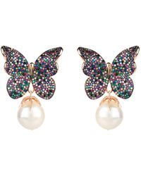 LÁTELITA London Baroque Pearl Multi Coloured Butterfly Earrings Rosegold - Multicolor