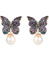 LÁTELITA London Baroque Pearl Multi Coloured Butterfly Earrings Rosegold - Multicolour