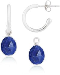 Auree Manhattan Lapis Lazuli & Silver Interchangeable Gemstone Hoop Earrings - Metallic