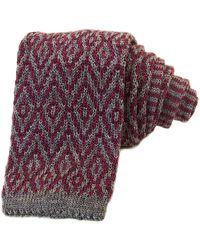 40 Colori Gray & Burgundy Diamonds Wool Jacquard Knitted Tie - Red