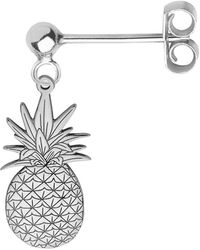 CarterGore Silver Pineapple Single Short Drop Earring - Metallic