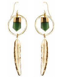 Tiana Jewel Feather Canyon Green Gemstone Quartz Hoop Earrings Gold