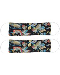 Rumour London Pack Of 2 Silk Face Masks With Integrated Filter In Liberty Fabric In Black Print