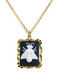 Vintouch Italy Bee Cameo Necklace - Metallic